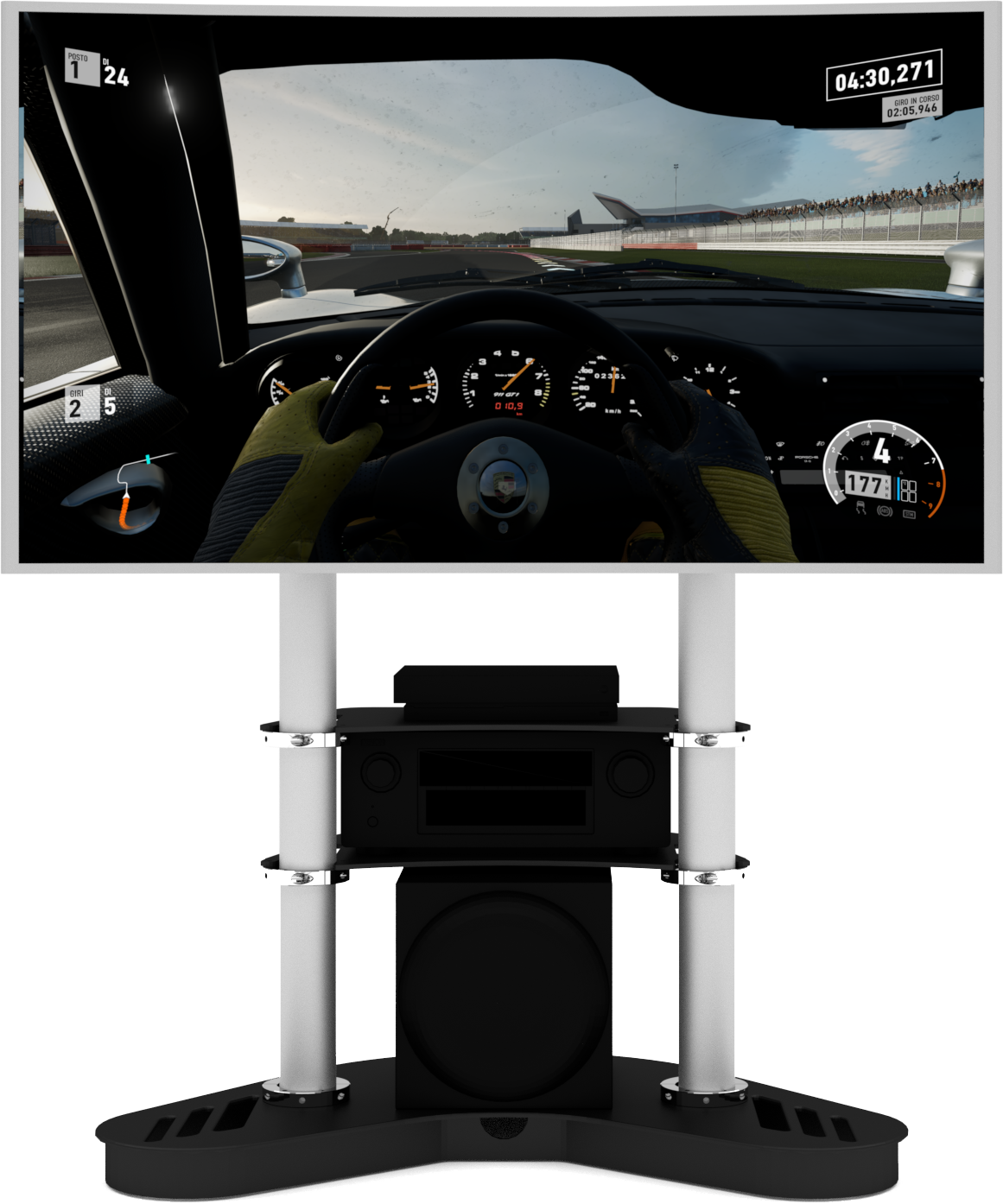 single screen display for racing simulator