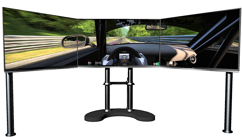 triple screen display for racing simulator