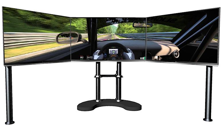 triple screen display for racing simulator